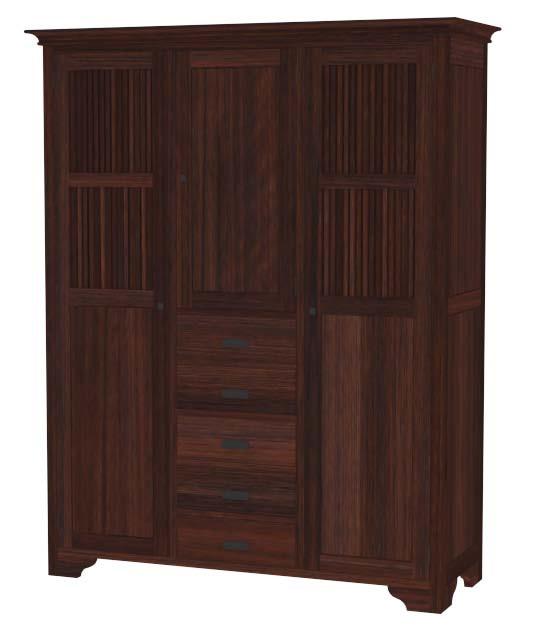 kleiderschrank mit 3 t ren und 5 schubladen moebel kolonie. Black Bedroom Furniture Sets. Home Design Ideas