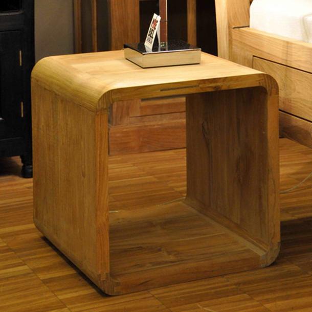 nachtk stchen cubo aus teakholz massiv moebel kolonie. Black Bedroom Furniture Sets. Home Design Ideas