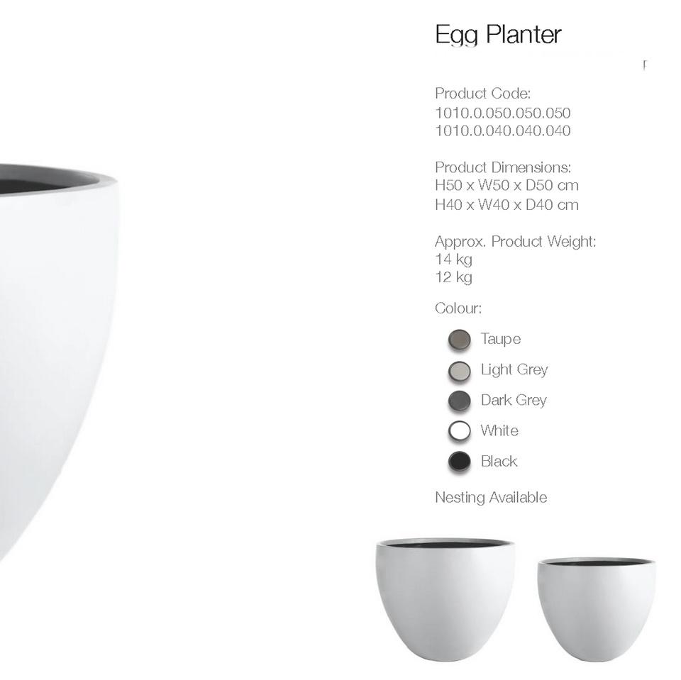 pflanzk bel egg planter aus beton und fieberglas moebel. Black Bedroom Furniture Sets. Home Design Ideas