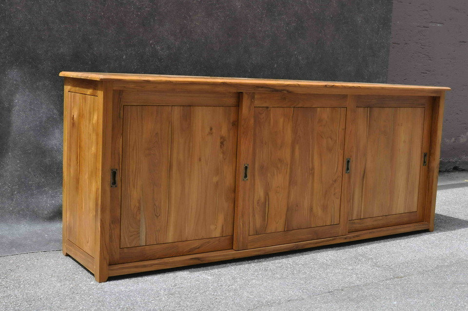 sideboard mit schiebet ren aus teak moebel kolonie. Black Bedroom Furniture Sets. Home Design Ideas