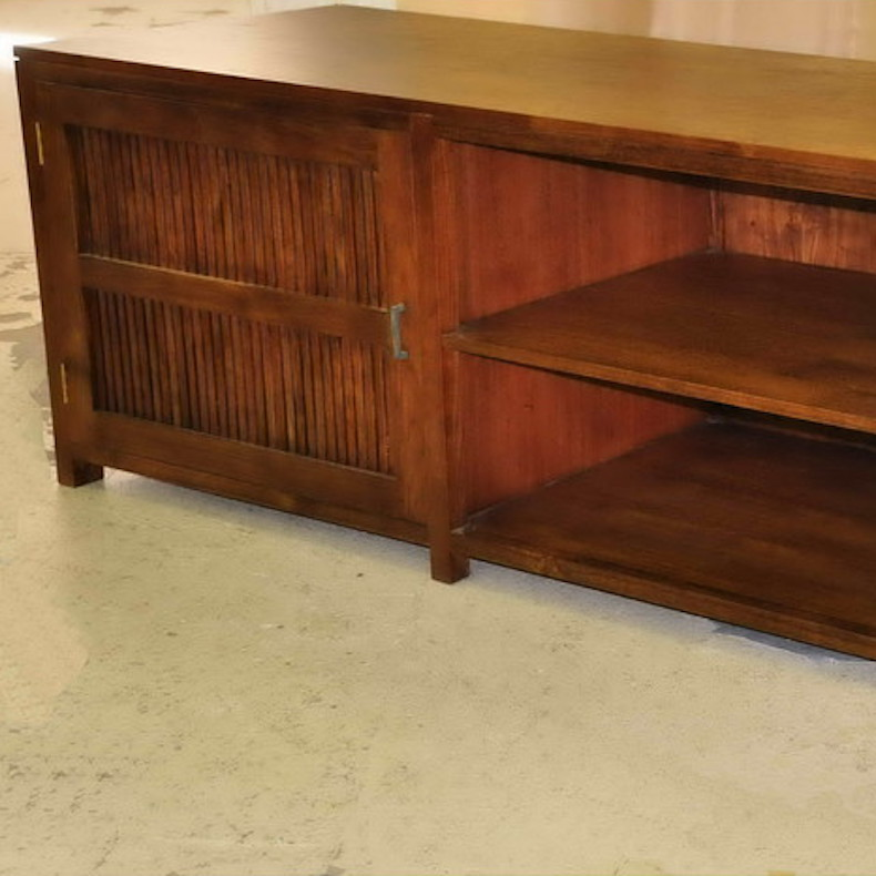 teak massiv tv board slated moebel kolonie. Black Bedroom Furniture Sets. Home Design Ideas