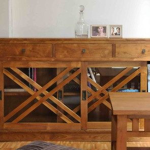 Sideboard Cross aus Teak Massivholz