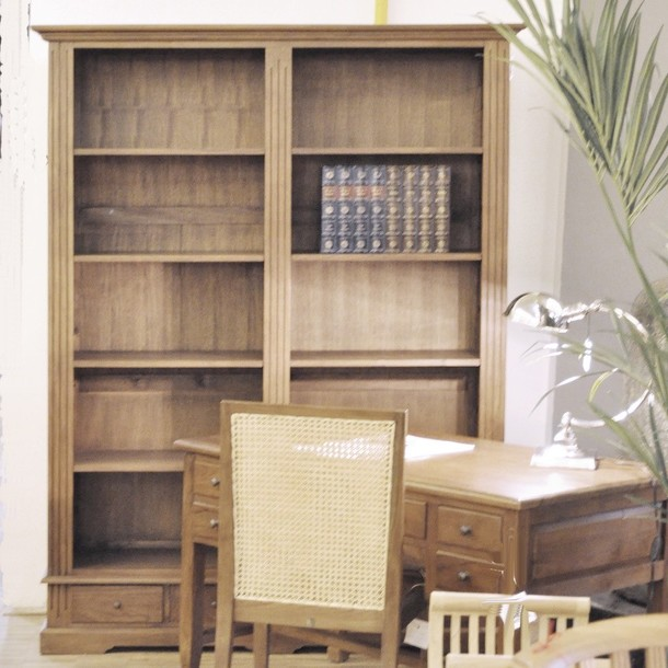 Bücherregal Classic Double aus Teak massiv