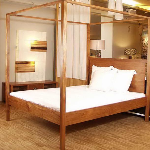 massives teak himmelbett munich moebel kolonie. Black Bedroom Furniture Sets. Home Design Ideas